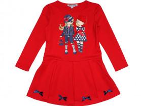 Красное платье с длинным рукавом modalora