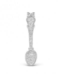 Ложка-загребушка из серебра родированная