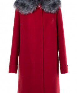 02-1726 Пальто женское утепленное Кашемир Красный