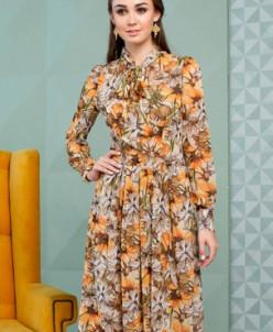 Платье шифоновое с ярким цветочным принтом
