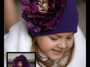 """Фиолетовая шапка с пионом """"Акварель"""""""