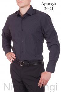 Сорочка приталенная, полоса, длинный рукав