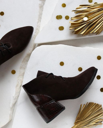 Ботильоны из шоколадной замши. New Collection 19/20