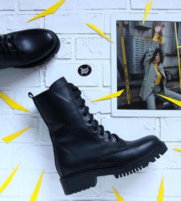 Кожаные стильные сапоги на шнуровке. New Collection 19/20