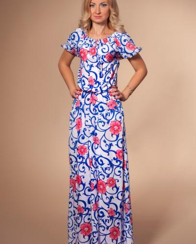 Платье № 851-молоч-синий