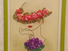 Картина из лент Дама в шляпе
