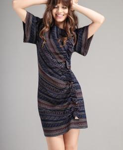 Р1136 платье  Цвет: синий+ цветной узор