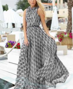 Двухцветное шифоновое платье