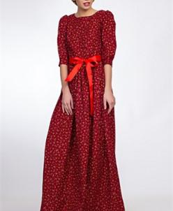 Повседневное платье #371-Velvet (Красный)