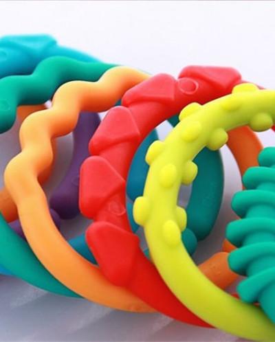 Детские игрушки 0-12 месяцев радуга QQ дети моляров кольцо-п