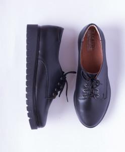 Туфли из натуральной черной кожи №306-2