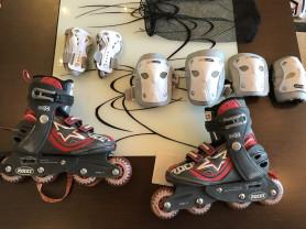 Роликовые коньки+защита+шлем