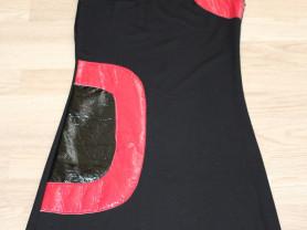Платье черное трикотажное со вставками р.44