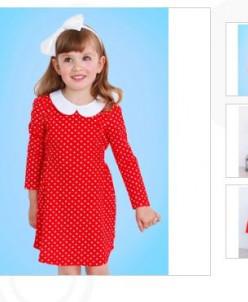 Платье с воротничком для девочек. Длинный рукав-5 цветов