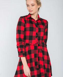 Платье в клетку с юбкой клеш TRISH красное