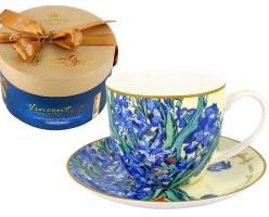 Чашка с блюдцем Ирисы (Ван Гог), в подарочной упаковке