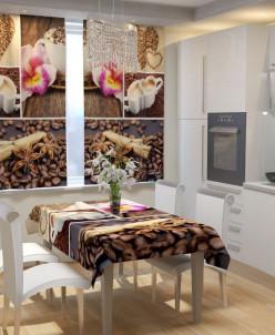 Фотошторы для кухни Кофе для двоих Габардин