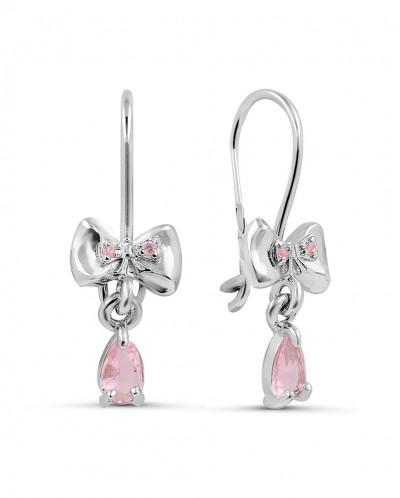 Серьги детские из серебра с розовыми фианитами родированные