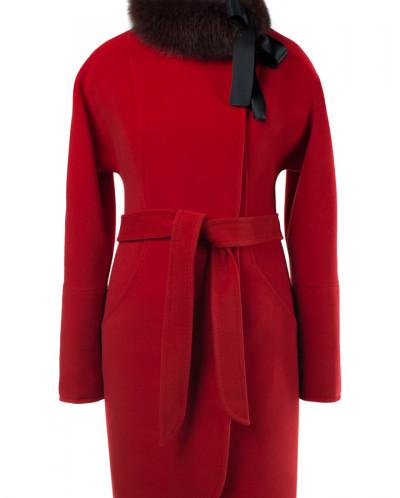 Пальто женское утепленное (пояс) Кашемир Красный