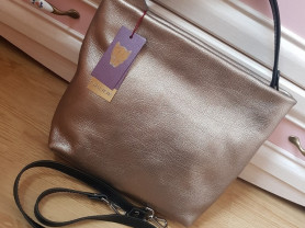 Новая стильная кожаная сумка Италия бронза