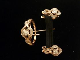 золотой комплект с бриллиантами 585