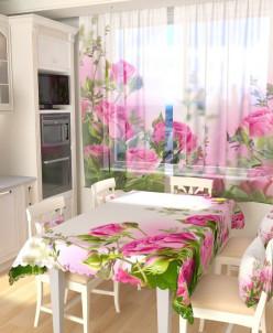 Тюль для кухни Букет алых роз