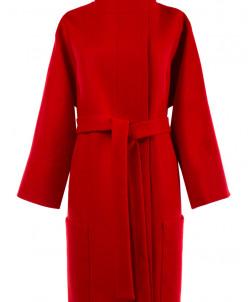 01-6498 Пальто женское демисезонное(пояс) Кашемир Красный