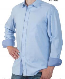 Сорочка комбинированная, классический силуэт, длинный рукав