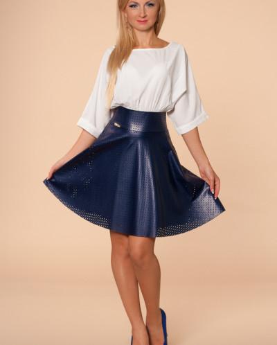 Платье № 874-молоч-т.синий