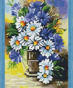 Букет ромашек с васильками - алмазная мозаика