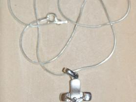 Крестик серебряный с цепочкой новый