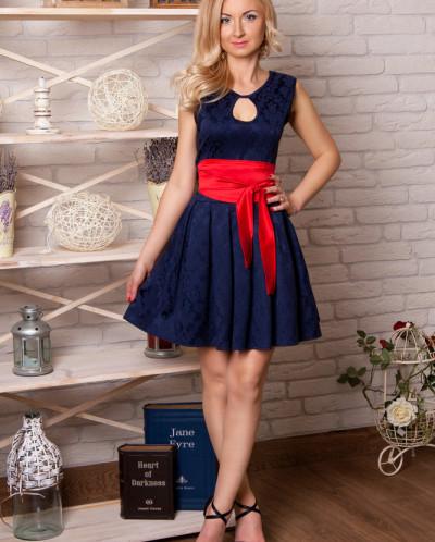 Платье № 850-т.син-красн