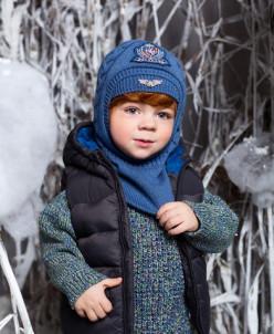 Шапка -шлем детская с утеплителем на х/б подкладке, без меха