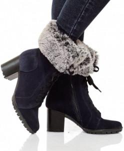 Женские замшевые ботинки с меховым декором (байка/экомех)