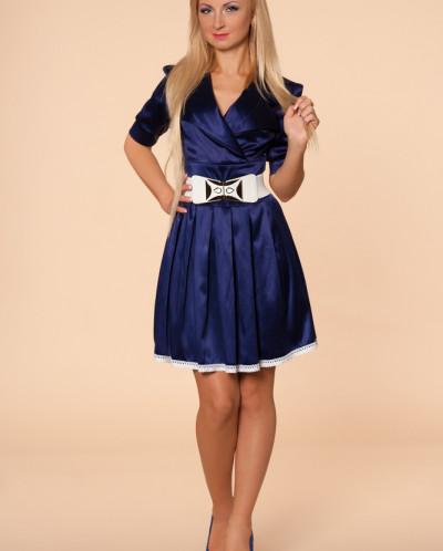 Платье № 870-т.синий