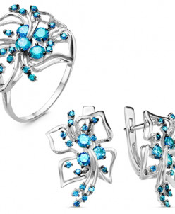 Гарнитур из серебра с голубыми фианитами родированный