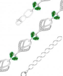 Браслет из серебра с пл. зеленым кварцем и фианитами родиров