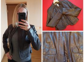 Укороченная кожаная куртка 42- 44