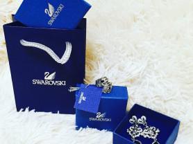 svarovski комплект новый серьги и кольцо