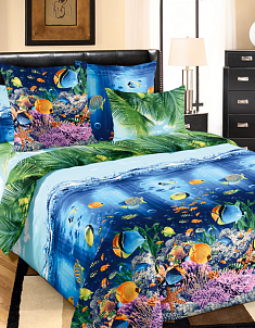Перкаль Подводный мир 1,5 спальный
