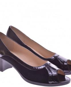Женские комбинированные туфли с открытым носком