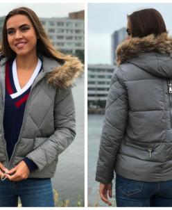 Женская куртка 1808 с натуральным мехом серая