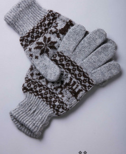 """Перчатки взрослые из шерсти """"Як"""" серый с рисунком"""
