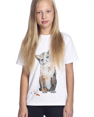 Футболка для девочек белая с рисунком «Малыши. Котенок»