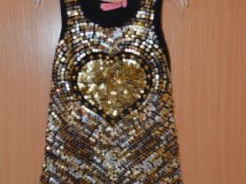 Платье черное с золотыми пайетками (США) 3-4 года