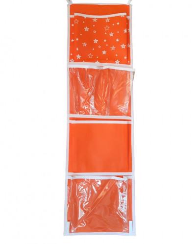 Кармашки для шкафчика, 5 отделений, оранжевый, 72*20 см