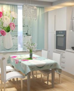 Фотошторы для кухни Нежное цветочное ассорти Габардин