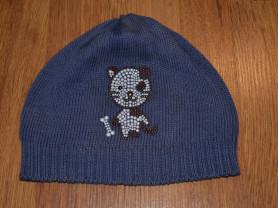 Синяя хлопковая шапка с котиком от Вики на 48-50