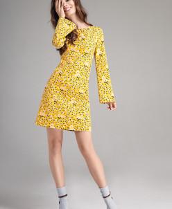 Р1184 платье   Цвет:  желтая примула+принт