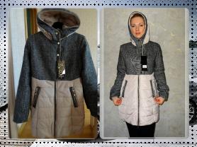 Новое комбинированное пальто весна осень 42